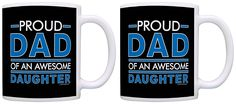 Father's Day Gift Proud Dad of an Awesome Daughter Dad Gifts 2 Pack Gift Coffee Mugs Tea Cups Black ** Unbelievable product right here! : Coffee Mugs