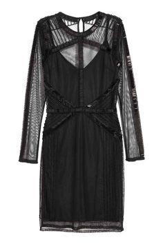 Šaty ze síťoviny s korálky - Černá - ŽENY   H&M CZ