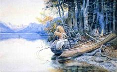 A Campsite by the Lake by Charles Marion Russell #art