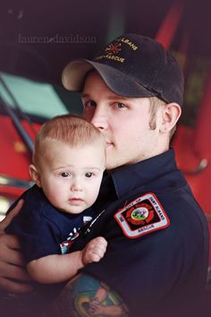 Father son baby photo idea. Fireman - firefighter and baby.