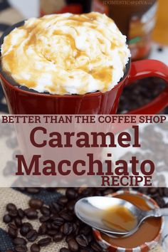 Better than the Coffee Shop Caramel Macchiato Recipe Opening A Coffee Shop, My Coffee Shop, Yummy Drinks, Delicious Desserts, Yummy Food, Caramel Macchiato Recipe, Caramel Latte, Home Recipes, Cooking Recipes