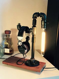Edison lamp, Headphone Stand I/Headphone Station ,steampunk, pipe , handmade.....free shipping