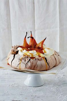 Chocolate pavlove with honey-roasted pears