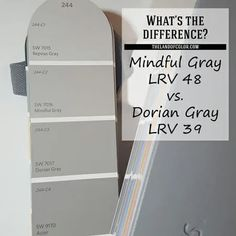 What's the Difference Between Sherwin-Williams-Mindful-Gray-and-Dorian-Gray? Which one is better? Learn how SW Mindful Gray 7016 and Dorian Gray 7017 are different so you don't make a huge color mistake because they look almost identical but they're NOT. Sherwin Williams Mindful Gray, Sherwin Williams Grau, Dovetail Sherwin Williams, Warm Gray Paint, Grey Paint Colors, Paint Colors For Home, Wall Colors, Neutral Paint, Exterior Gray Paint