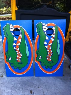 Hand painted Florida Gators cornhole boards by Bahama Boards!