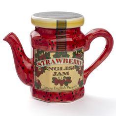 Strawberry English Jam novelty teapot shaped like a jar of strawberry jam, ceramic, UK