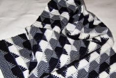 Esquema y muestra de punto crochet para manta blanco y negro