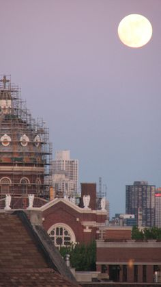 View from our deck. Full Moon over Saint Mary's of the Angels circa Scaffolding. 2011.