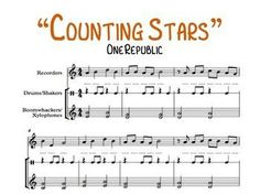 """The refrain to the popular song """"Counting Stars"""" by One Republic! Includes spaces to write in note names.Arranged for:Recorder (melody)Drums (accompaniment)Xylophones or Boomwhackers (accompaniment)The rhythm has been slightly simplified to allow ease of play for younger Recorder students."""