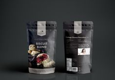 Karen Morgan of Blackbird Bakery has spent almost 15 years working to make gluten-free cooking an appealing, accessible option for all. She developed her line of flour blends to serve as easy foundations for thousands of sweet and savory recipes (many of which are MiniSuper tested and approved). MiniSuper Studio designed branding and packaging for this line of products. Packaging Snack, Pouch Packaging, Cool Packaging, Food Packaging Design, Brand Packaging, Sin Gluten, Cottage Cheese Pancakes, Hexagon Logo, Gluten Free Biscuits