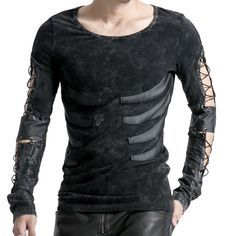Long-sleeve men's top with strings on arms