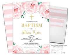 Floral Baptism Invit