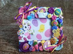 Easter Themed Button Picture Frame by ButtonsGoneWild on Etsy, $22.00