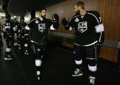 Carter and Clifford pump fists before a Stanley Cup final game at STAPLES Center Mans Best Friend, Best Friends, Jeff Carter, La Kings Hockey, Stanley Cup Finals, Staples Center, Pumps, Game, Meet