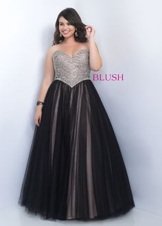 Too by Blush 9103W Glitzy Two-Tone Black Nude Strapless Plus Size Ball Gown, Elegant Plus Size Prom Dresses