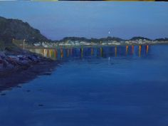 Demo painted for an art club in oils. Limekilns in Fife at dusk.