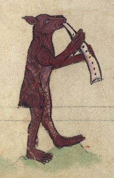 Bear blowing a horn.  This is a finely illuminated and iconographically rich Book of Hours, made in England at the end of the thirteenth century. The manuscript is incomplete and misbound. Its main artist can also be found at work in a Bible, Oxford, Bodleian Library Ms. Auct. D.3.2, and a Psalter, Cambridge, Trinity College Cambridge Ms. O.4.16.