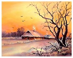AMURG-AURIU- | Tablouri de suflet si vis Watercolor Landscape Paintings, Watercolor Paintings, Art Thomas, Painting Snow, Country Art, Winter Art, Winter Photography, Winter Landscape, Winter Scenes