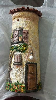 Dakpan klein 25cm Ceramic Houses, Roof Tiles, Decoupage, Polymer Clay, Ceramics, Homemade, Crafts, Clay Tiles, Painting On Tiles
