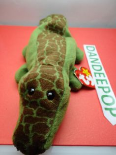 "TY Beanie Babie 1993 Ally Alligator Stuffed animal toy Original w/ tags 10.5"" find me at www.dandeepop.com"