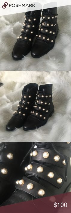 Black Zara pearl boots Only worn once, wasn't the right size. They still look brand new and no pearls are distressed or missing. Zara Shoes Combat & Moto Boots