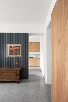 Appartamento a Verona - studio wok Plywood Panels, Marble Floor, Carrara Marble, Oak Parquet Flooring, Green Marble, Floor Finishes, Common Area, Wok, Interiors