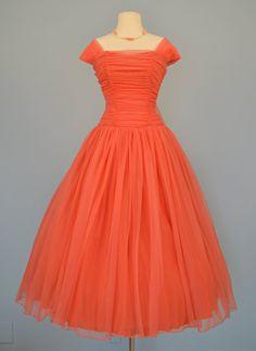 Vintage 1950s Prom Dress...Beautiful Ballerina Length Coral Chiffon Evening Dress Prom Dress Party Dress Small