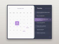gui design Calendar - Day 38 by Sergiu Radu Design Web, App Ui Design, Web Design Trends, Flat Design, Graphic Design, Gui Interface, User Interface Design, Kalender Design, Calendar App