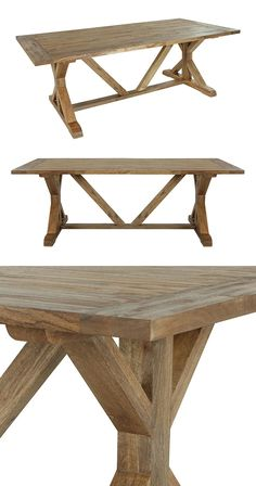 It's not quite as casual as hosting a picnic indoors, but the Tamashan Rectangular Dining Table is every bit as lighthearted. We love the modified trestle style that works in geometric shapes while sti...  Find the Tamashan Rectangular Dining Table, as seen in the A Rustic Cottage Collection at http://dotandbo.com/collections/a-rustic-cottage?utm_source=pinterest&utm_medium=organic&db_sku=124415