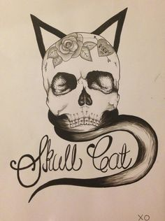 A refined version of the skull cat tattoo. I kinda like this guy. Justina Bisset xo