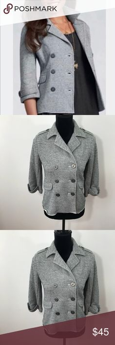 """Cabi Gray Shrunken Knit Pea Coat Nautical XS Gorgeous knit pea coat from CAbi! Has anchor buttons. Shrunken knit and so lovely for spring! Sz. XS. Approximate measurements are 34"""" bust and 22"""" length. Make an offer CAbi Jackets & Coats Pea Coats"""