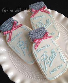 Milk Glass Jar Cookies From Cookies With Character.great for favors at a barbque Fancy Cookies, Cut Out Cookies, Iced Cookies, Cute Cookies, Royal Icing Cookies, Cookies Et Biscuits, Cupcake Cookies, Sugar Cookies, Birthday Cookies