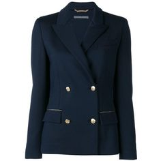 Alberta Ferretti double-breasted blazer (4.515 BRL) ❤ liked on Polyvore featuring outerwear, jackets, blazers, blue, blue blazer, blue double breasted blazer, alberta ferretti, blue jackets and blue blazer jacket