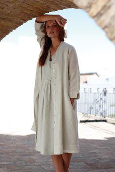Dresses   Alexa Herringbone Linen Button Dress at Sahara