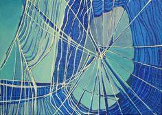 """""""Ein Fetzen Fischernetz, beim Spaziergang am Rhein aus dem Wasser gezogen, gab Manuela Rauber den Anstoß zur Serie """"Netzwerk"""".    Nach allen Seiten -"""