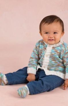 Bouncing Boy Cardigan And Boots By Cathy Payson - Free Knitted Pattern - (redheart)