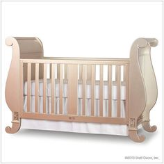 Chelsea Sleigh Crib in Antique Silver ($1,299) ❤ liked on Polyvore