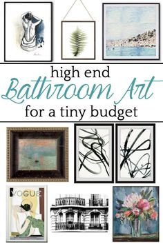 A shopping guide with upscale art for bathrooms for under $100 based on linear figures, architectural sketches, vintage advertisements, sky/water/landscapes, abstract paintings, and botanicals. #bathroomart #walldecor