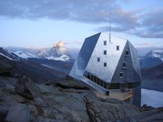 Monte Rosa Huette - a lodge located in the Swiss Alps accessible only by a three hour hike | Architect: Bearth & Deplazes