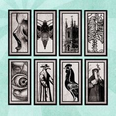 MEMENTO MORI Digital Collage Sheet - no. 0205, $3.99 :: Morbid, gothic printable 1x2in images - perfect for domino tile pendants. From Rowan Tree Design on Etsy.
