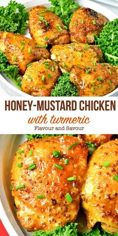 This Honey Mustard Chicken with Turmeric is blanketed with a creamy-dreamy, sweet 'n spicy honey-mustard sauce. It's an easy dish with the added benefit of turmeric. Honey Mustard Sauce, Honey Mustard Chicken, Honey Sauce, Paleo Recipes, Cooking Recipes, Drink Recipes, Delicious Recipes, Jai Faim, Sweet And Spicy Sauce