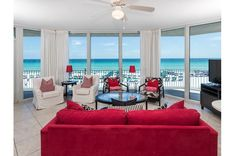 Bright and spacious Gulf-front living room at Waterscape Florida Vacation, Florida Beaches, Sandy Beaches, Fort Walton Beach Florida, Beach Place, Red Sofa, Beach Resorts, Vacation Destinations, Bright