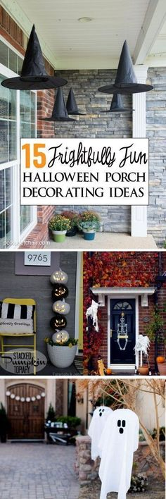 15 Frightfully Fun and creative ways to decorate your front porch for Halloween! 15 Frightfully Fun and creative ways to decorate your front porch for Halloween! Spooky Halloween, Halloween Veranda, Theme Halloween, Halloween 2016, Holidays Halloween, Halloween Crafts, Happy Halloween, Halloween Bedroom, Diy Halloween Home Decor