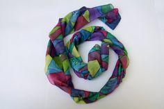 Silk scarf hand painted Motley windows. by ArtStudioInfinity