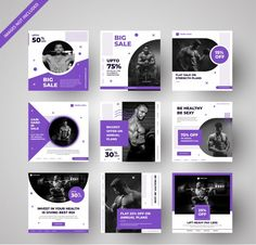 Modern Gym Ad Banners Collection For Social Media & Digital Marketing Social Media Poster, Social Media Branding, Social Media Banner, Social Media Template, Social Media Design, Social Media Graphics, Social Media Marketing, Social Media Measurement, Instagram Feed Layout