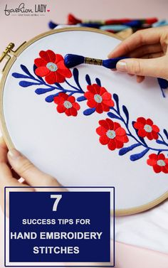 Crewel Embroidery Tutorial 7 Success Tips For Hand Embroidery Stitches Crewel Embroidery Kits, Embroidery Needles, Silk Ribbon Embroidery, Hand Embroidery Patterns, Cross Stitch Embroidery, Embroidery Tattoo, Embroidery Supplies, Eyeliner Embroidery, Embroidery Software