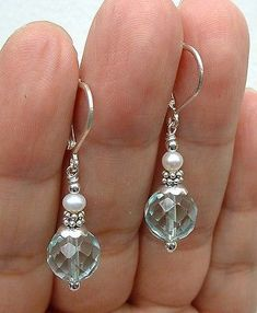 Faceted Aqua Blue Quartz W. White FWP Sterling Silver Earrings A0117
