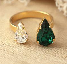 Emerald Crystal Swarovski Dual ring Emerald Crystal Swarovski