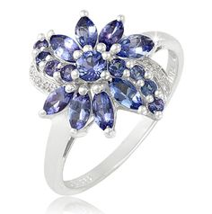 $39.99 - 2 Carat Tanzanite and 0.03 Carat Diamond Accent Flower Ring in Sterling Silver