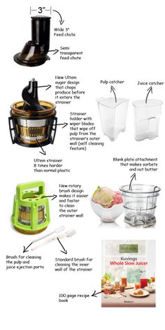 """Kuvings Whole Slow Juicer Review - the only vertical slow juicer in the market with a 3"""" feed chute. You don't need to pre-cut fruits like apples or lemon which is a real time saver."""